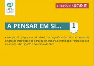 5.ª Renovação das medidas extraordinárias aplicadas pela Câmara Municipal de Santiago do Cacém para apoio social e económico no combate à pandemia pela doença COVID-19 - Medida 1