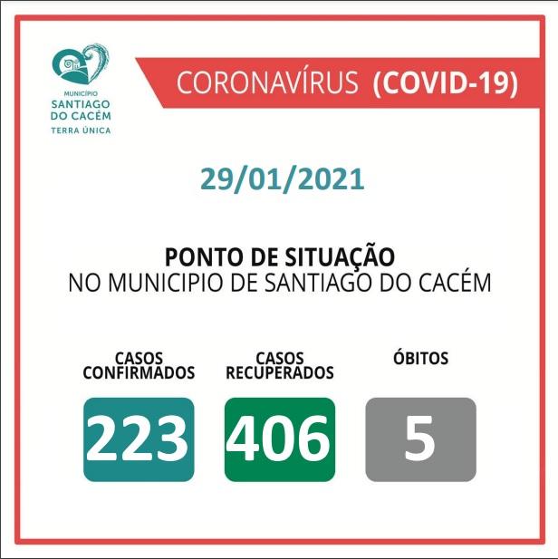 Casos Confirmados Ativos, recuperados e Óbitos 29.01.2021