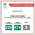 Casos Confirmados Ativos, recuperados e Óbitos 03.02.2021