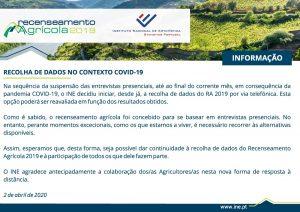 Instituto Nacional de Estatística (INE) - Recenseamento Agrícola 2019 (RA 2019