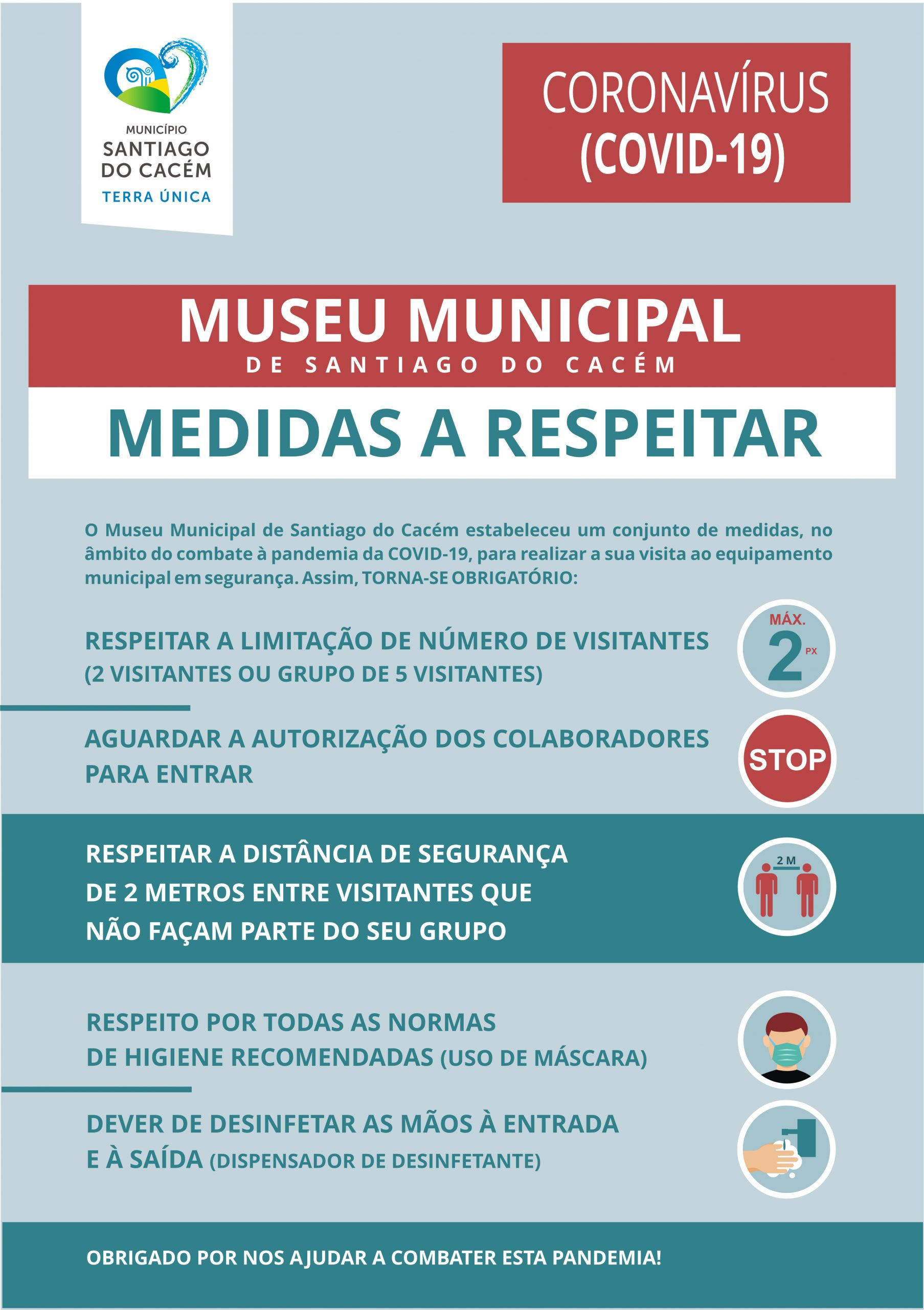 medidas a respeitar nas visitas ao museu municipal